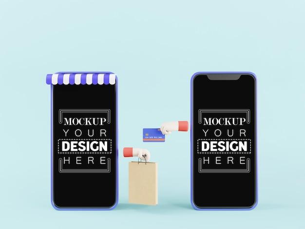 Maquetas de teléfonos inteligentes con pantalla en blanco con compras en línea