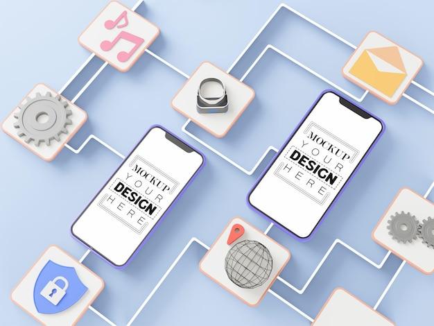 Maquetas de teléfonos inteligentes con pantalla en blanco con conexiones