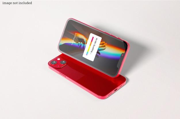 Maquetas de teléfonos inteligentes rojos