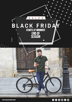 Maquete de capa de sexta-feira negra com imagem