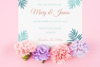 Maquete de cartão com rosas para casamento