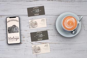 Maquete de papelaria com conceito de fotografia e cartões de visita