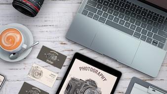 Maquete de papelaria de vista superior com o conceito de fotografia
