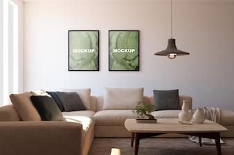 Maquete de quadros na sala de estar