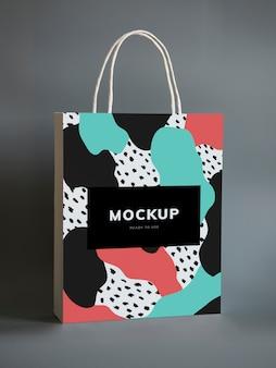Maquete de saco de papel colorido compras