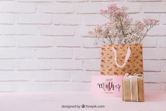 Maquete do dia das mães com presentes e copyspace