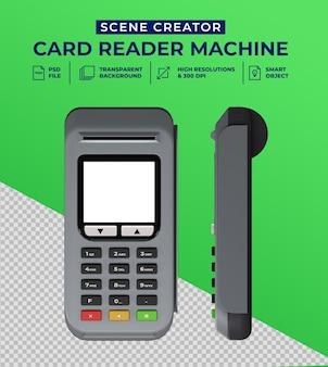 Máquina lectora de tarjetas de débito y crédito en diseño 3d