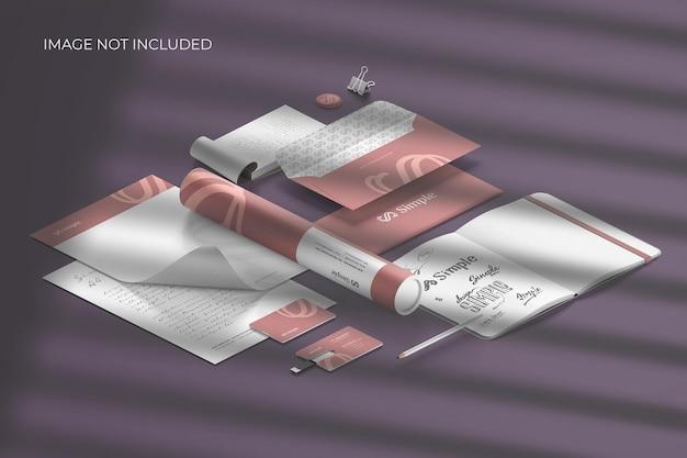 Marca de papelería isométrica: creador de escenas de maquetas