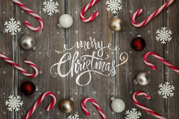 Marco de bastón de caramelo con mensaje de navidad