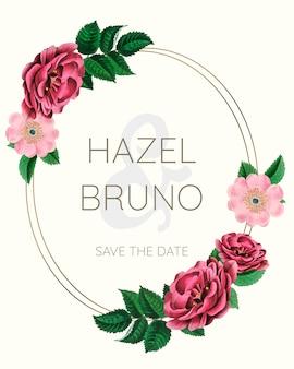 Marco de la boda maqueta con rosas