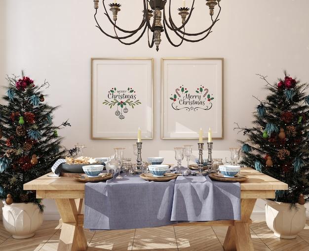 Marco de cartel de maqueta en comedor con árbol de navidad