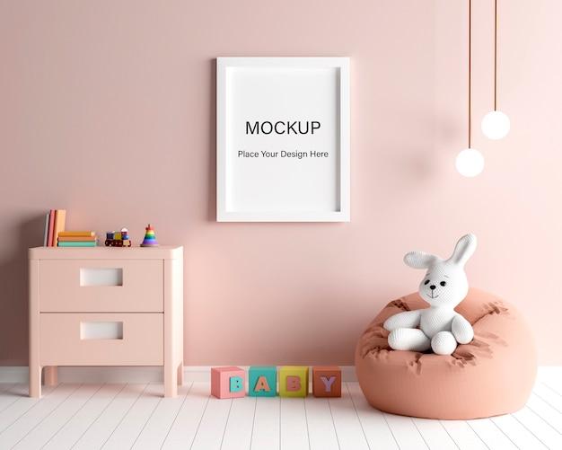 Marco de cartel de maqueta con lindo conejo para una representación 3d de baby shower de niña