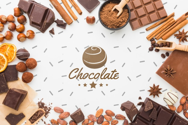 Marco de chocolate dulce con maqueta de fondo blanco