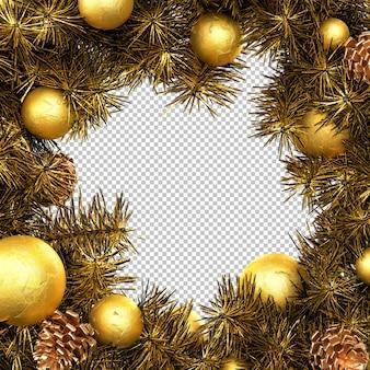 Marco dorado de la guirnalda de navidad. representación 3d