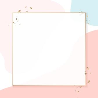 Marco dorado pastel memphis psd con espacio de diseño
