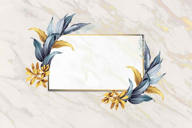 Marco floral en blanco