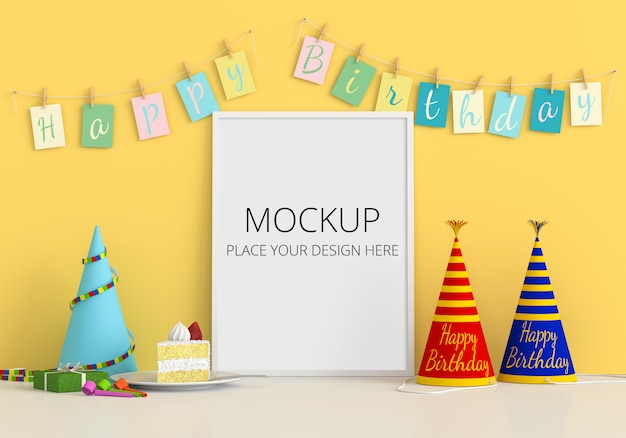 Marco de fotos en blanco para maqueta, concepto de feliz cumpleaños