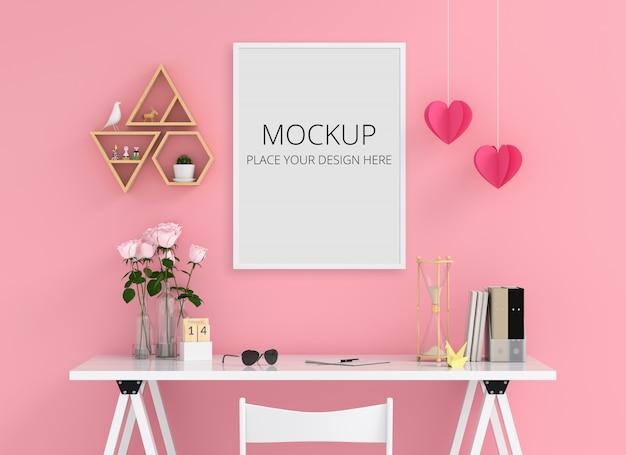 Marco de fotos en blanco para maqueta en la pared, concepto de san valentín