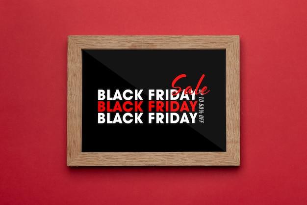 Marco de fotos con maqueta de campaña de black friday