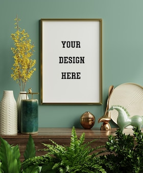 Marco de fotos de maqueta en el estante verde con hermosas plantas, renderizado 3d