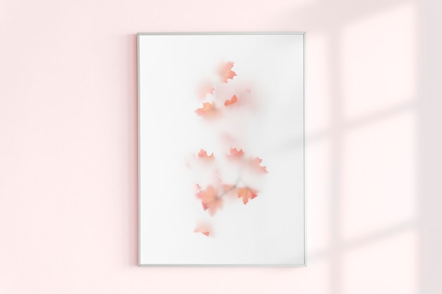 Marco de fotos en una pared rosa con luz natural