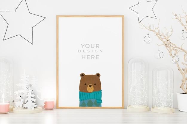Marco de fotos de póster de maqueta con decoración navideña. renderizado en 3d.