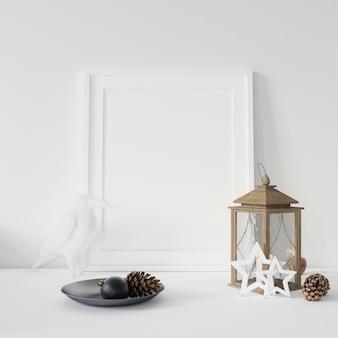 Marco de fotos vacío y ramas decorativas