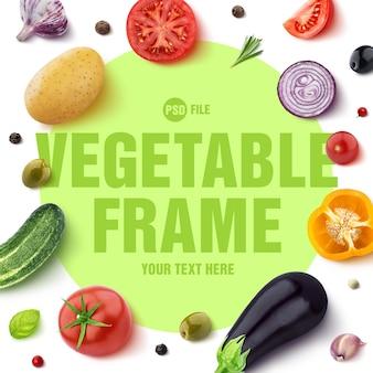 Marco hecho de diferentes verduras