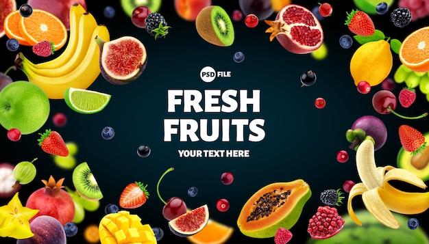 Marco hecho de frutas y bayas de fondo