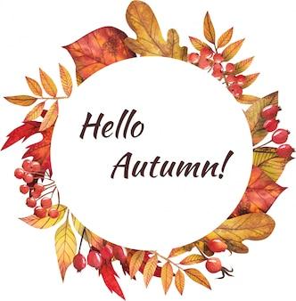 Marco de hojas de otoño pintadas por acuarela