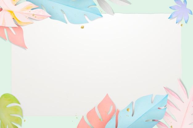 Marco de hojas pastel psd en estilo artesanal de papel