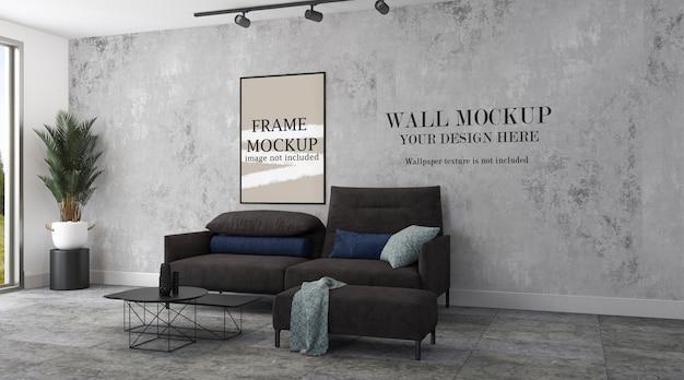 Marco de imagen y plantilla de pared en interiores modernos