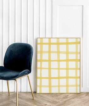 Marco de imagen sobre piso de madera con imagen de cuadrícula amarilla