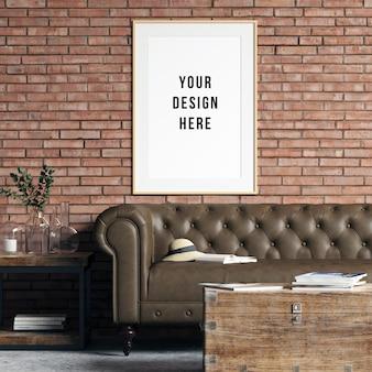 Marco industrial de la sala de estar de la maqueta del marco con las decoraciones