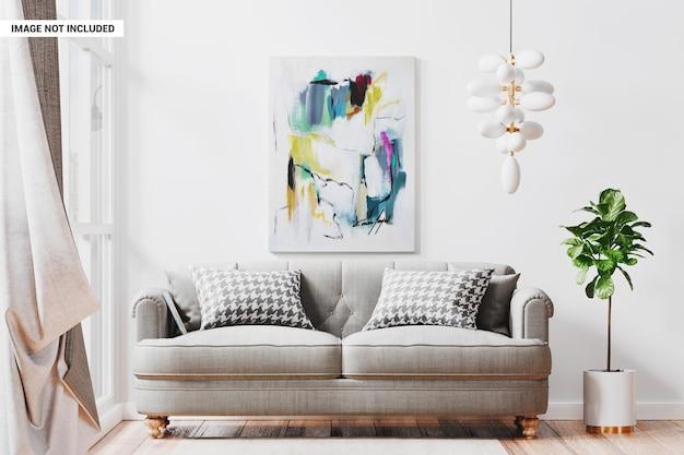 Marco de lienzo en maqueta interior de sala de estar moderna