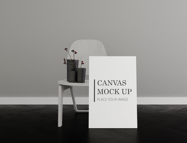 Marco lienzo mock up con silla monocromo interior