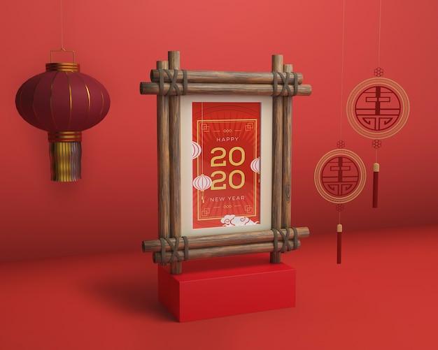 Marco de maqueta con fecha de año nuevo