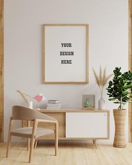 Marco de maqueta en el interior de la sala de estar, estilo escandinavo, renderizado 3d