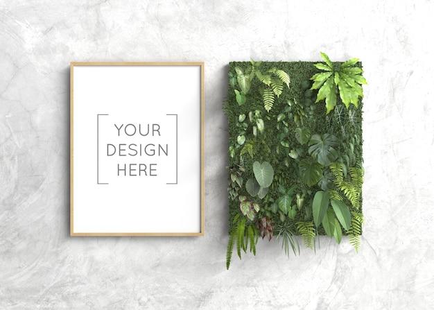 Marco de maqueta con jardín vertical