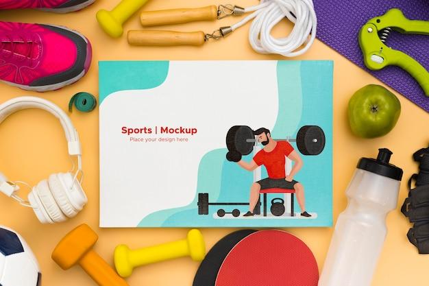 Marco de maquetas de equipamiento deportivo