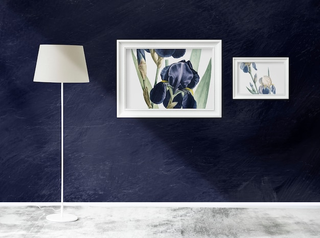 Marco de maquetas en una habitación con una lámpara.