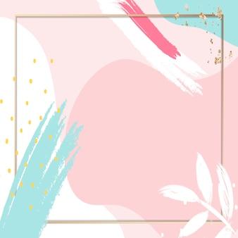 Marco de memphis rosa pastel psd con hojas
