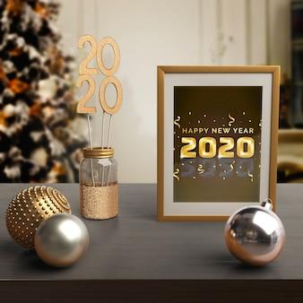 Marco con mensaje de año nuevo y tema