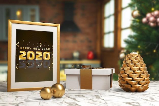 Marco con mensaje de deseo de año nuevo en la mesa
