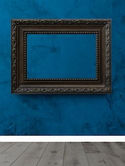 Marco en una pared azul