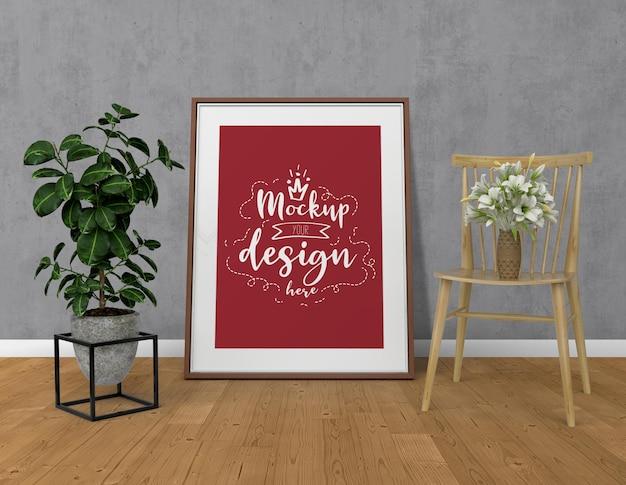 Marco de póster de maqueta con decoración del hogar en el interior moderno de la sala de estar. maqueta lista para usar