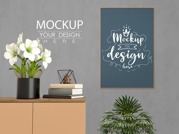 Marco de póster de maqueta con decoración del hogar en el interior moderno de la sala de estar.