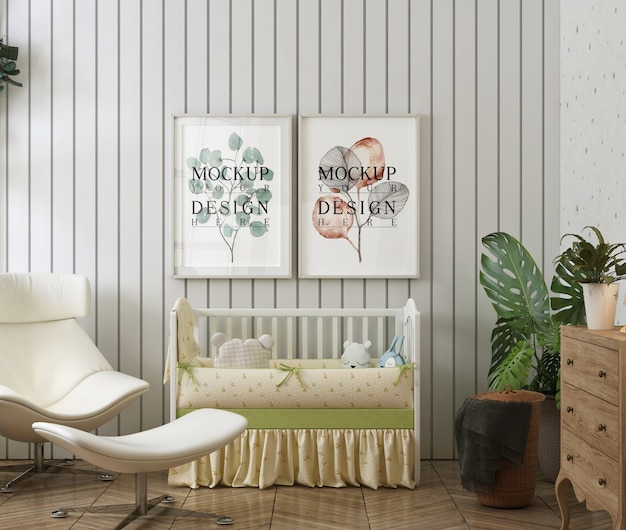 Marco de póster de maqueta en el dormitorio moderno del bebé