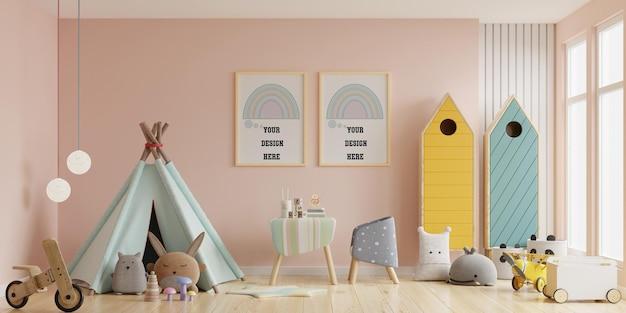 Marco de póster de maqueta en la habitación de los niños. sala de guardería, sala de niños, maqueta de marco de pared representación 3d