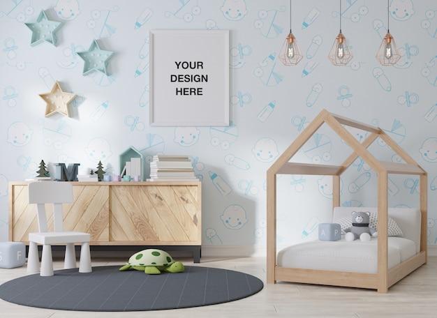 Marco de póster de maqueta en la habitación de los niños
